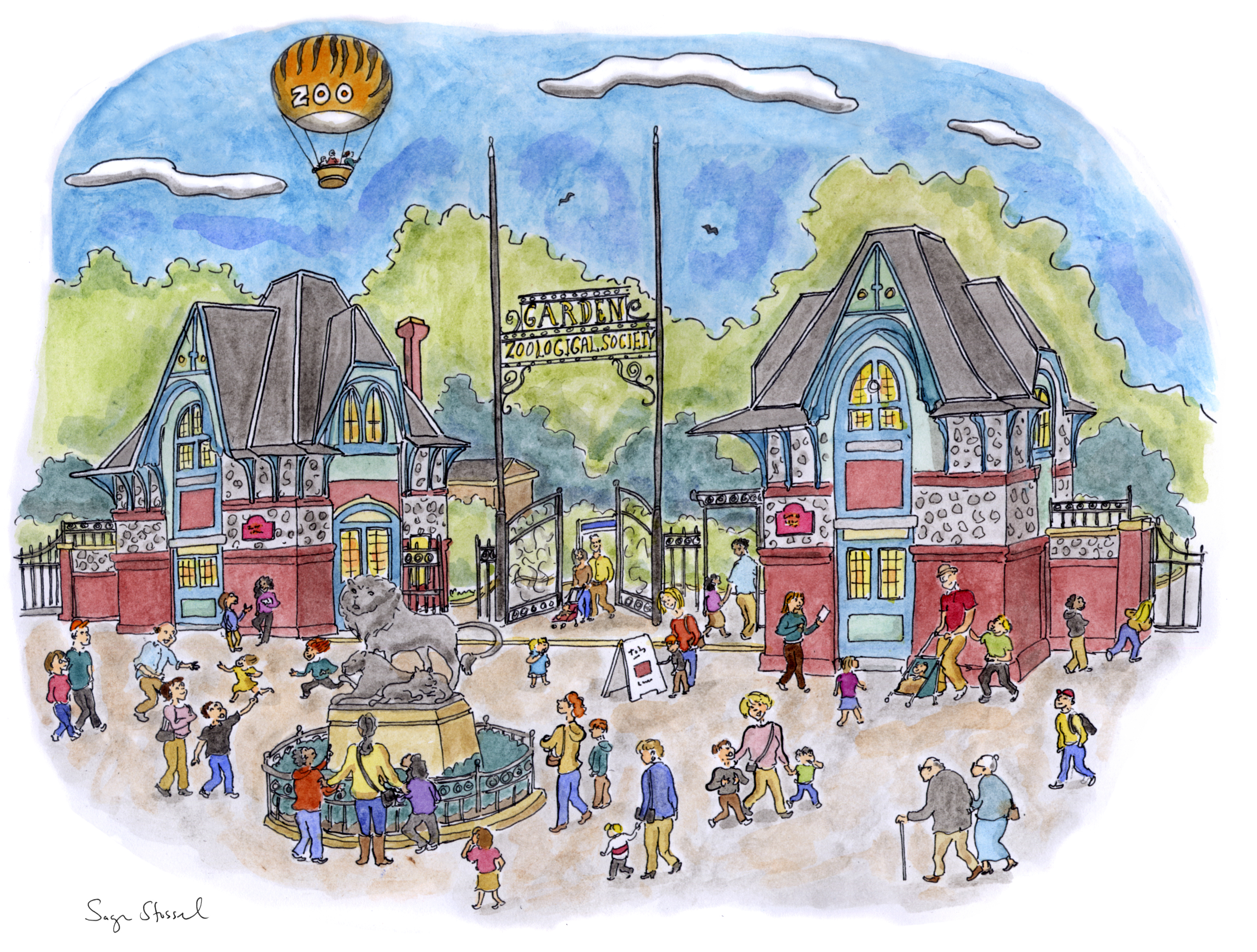 Philadelphia Zoo Entrance illustration